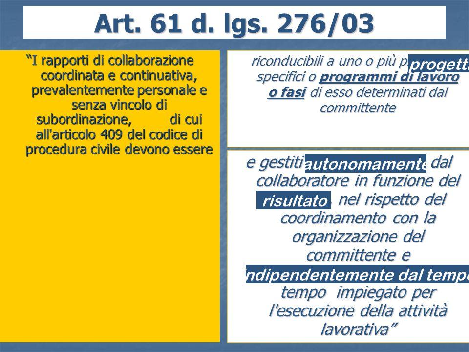 20 Art. 61 d. lgs. 276/03 I rapporti di collaborazione coordinata e continuativa, prevalentemente personale e senza vincolo di subordinazione, di cui