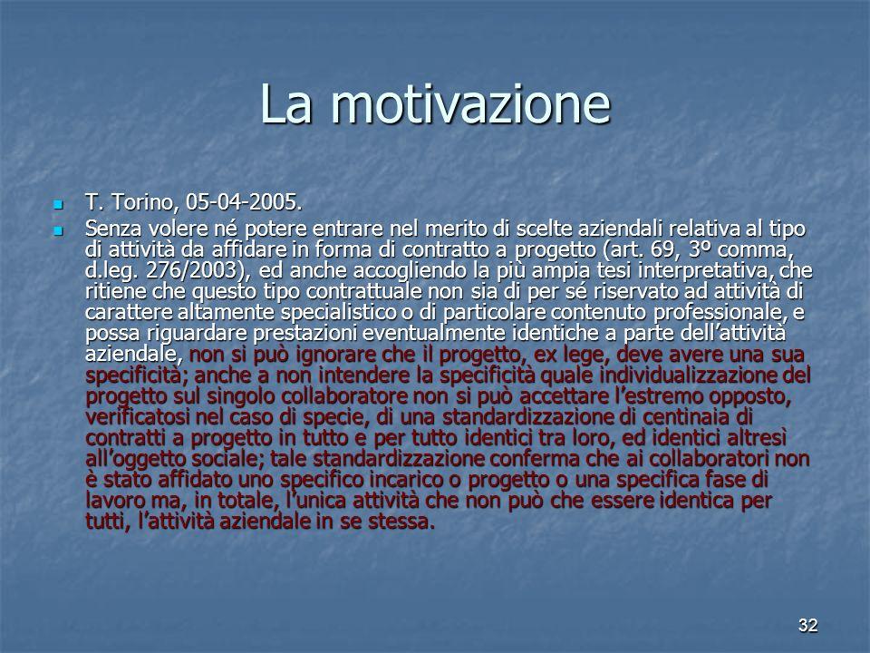 32 La motivazione T. Torino, 05-04-2005. T. Torino, 05-04-2005. Senza volere né potere entrare nel merito di scelte aziendali relativa al tipo di atti