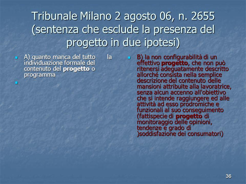 36 Tribunale Milano 2 agosto 06, n. 2655 (sentenza che esclude la presenza del progetto in due ipotesi) A) quanto manca del tutto la individuazione fo