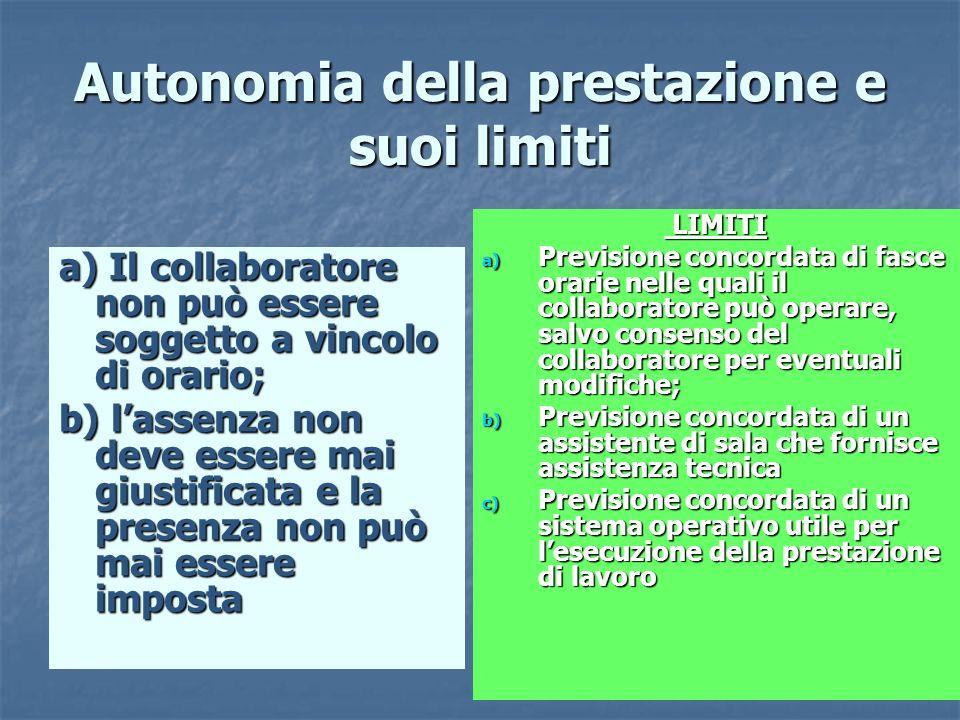 43 Autonomia della prestazione e suoi limiti a) Il collaboratore non può essere soggetto a vincolo di orario; b) lassenza non deve essere mai giustifi