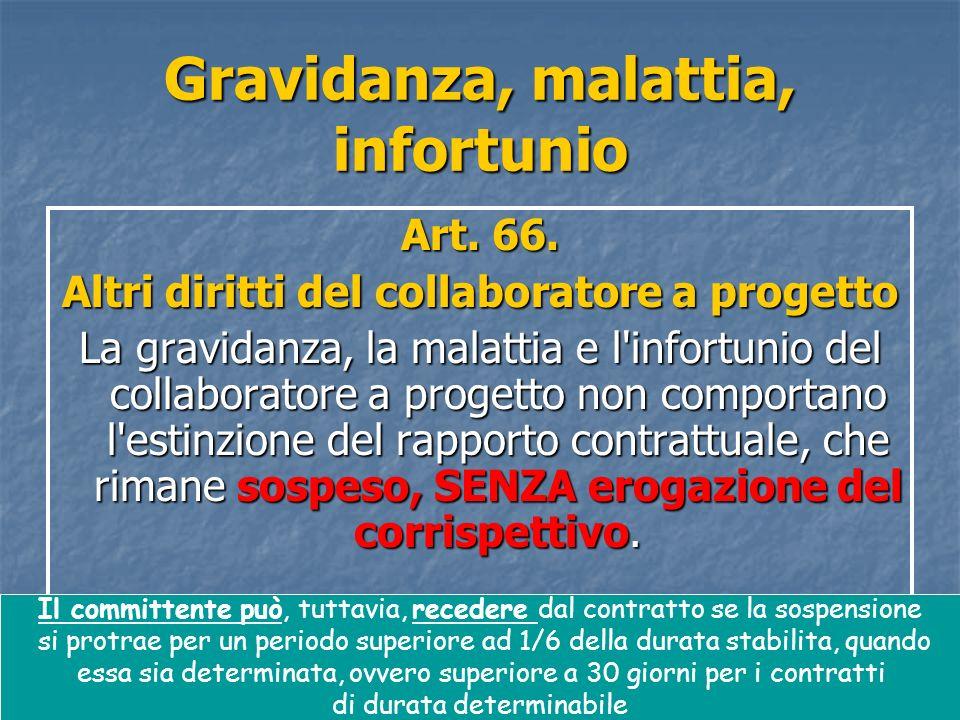 48 Gravidanza, malattia, infortunio Art. 66. Altri diritti del collaboratore a progetto La gravidanza, la malattia e l'infortunio del collaboratore a