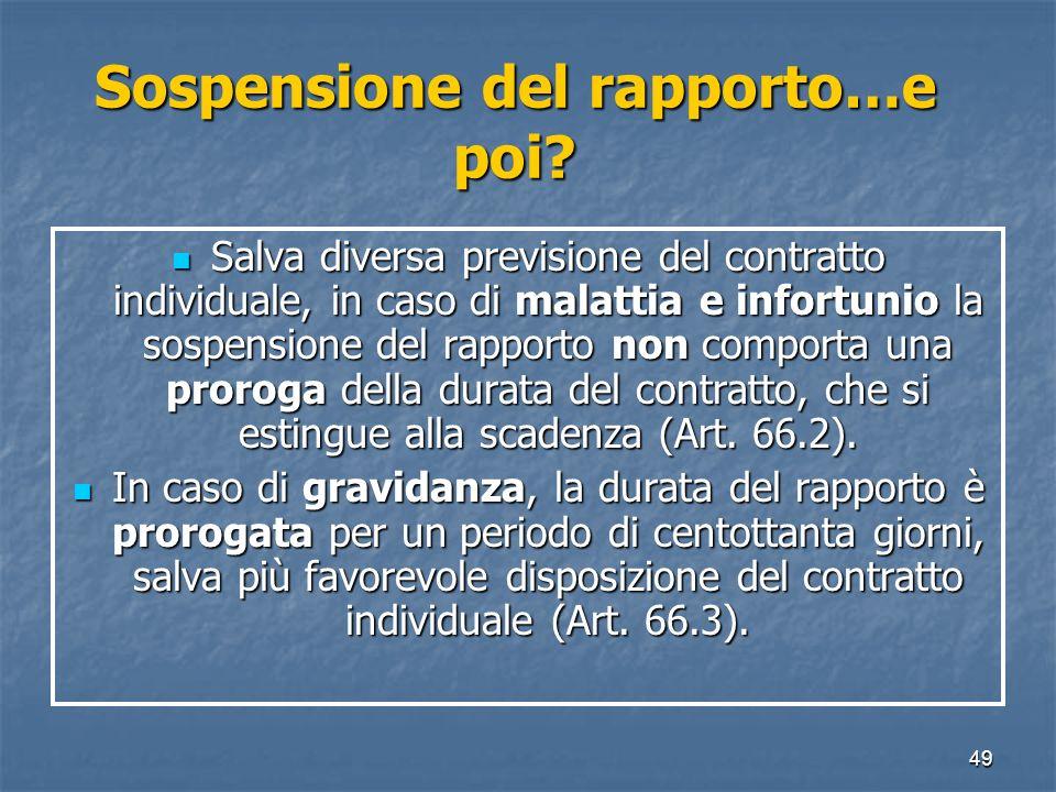 49 Sospensione del rapporto…e poi? Salva diversa previsione del contratto individuale, in caso di malattia e infortunio la sospensione del rapporto no