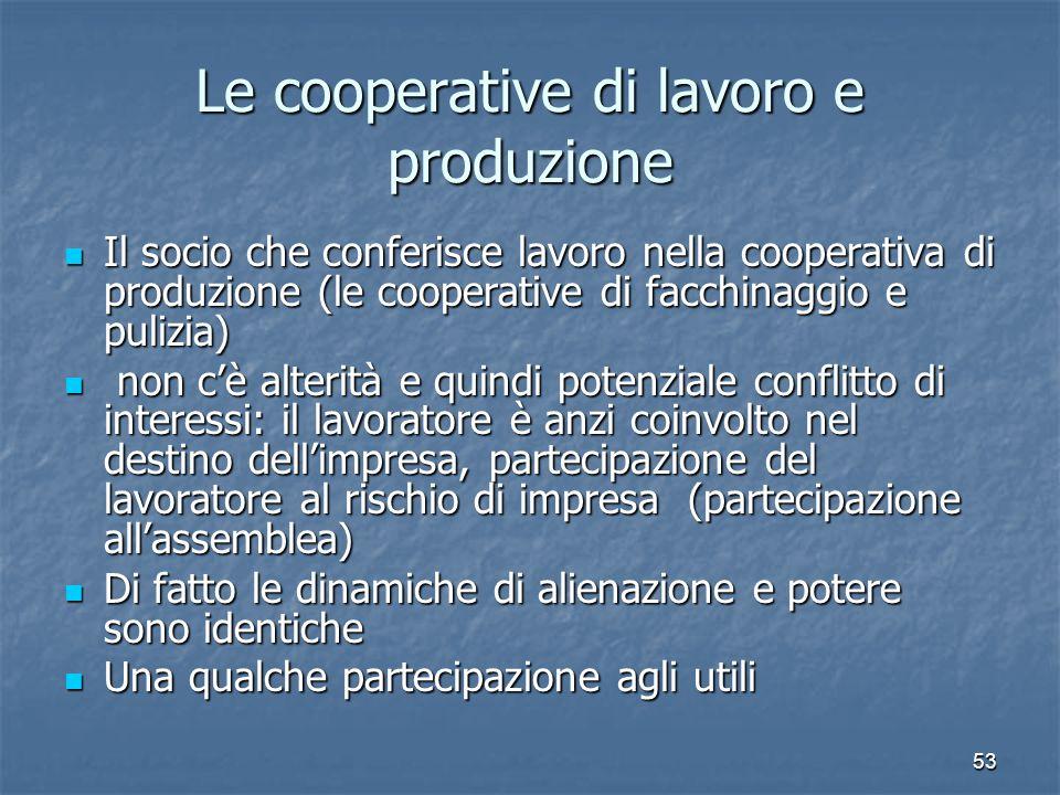 53 Le cooperative di lavoro e produzione Il socio che conferisce lavoro nella cooperativa di produzione (le cooperative di facchinaggio e pulizia) Il