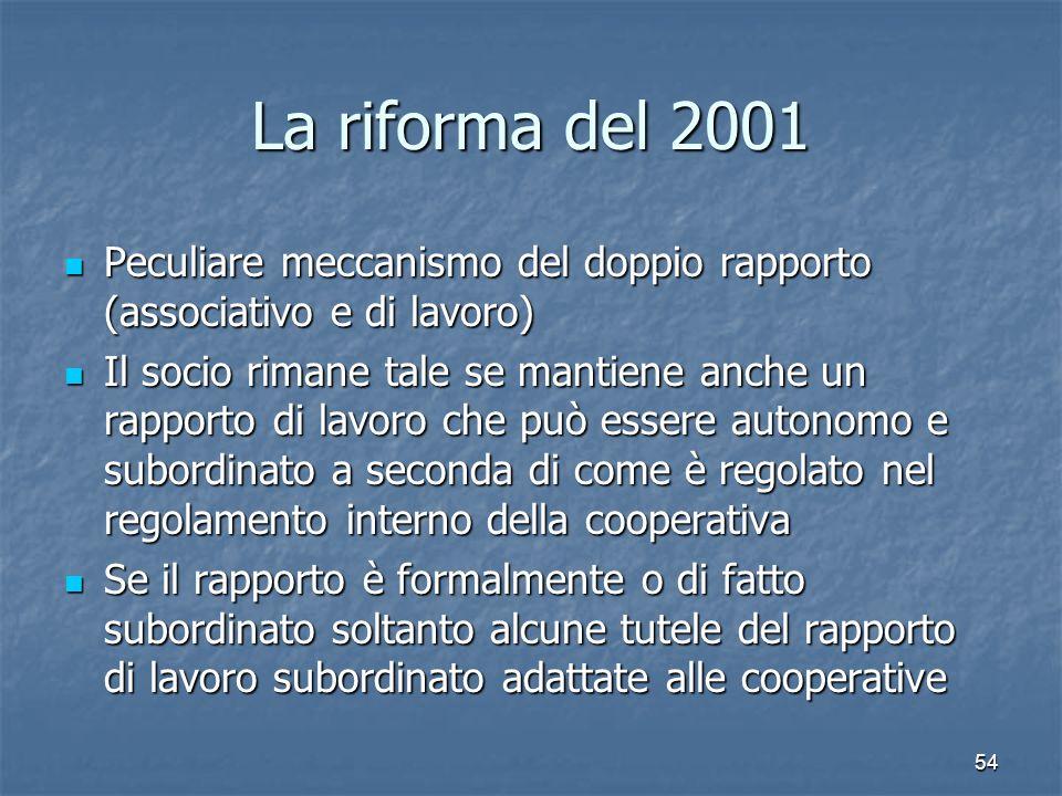 54 La riforma del 2001 Peculiare meccanismo del doppio rapporto (associativo e di lavoro) Peculiare meccanismo del doppio rapporto (associativo e di l