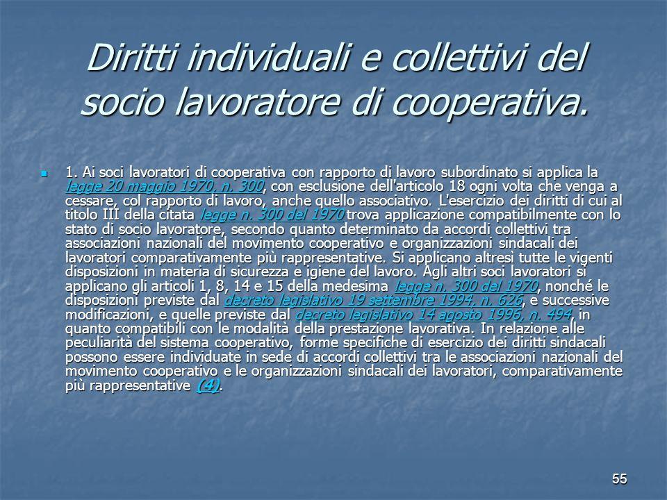 55 Diritti individuali e collettivi del socio lavoratore di cooperativa. 1. Ai soci lavoratori di cooperativa con rapporto di lavoro subordinato si ap