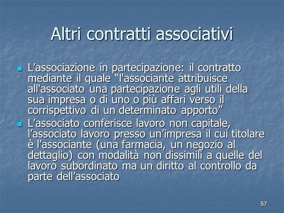 57 Altri contratti associativi Lassociazione in partecipazione: il contratto mediante il quale l'associante attribuisce all'associato una partecipazio