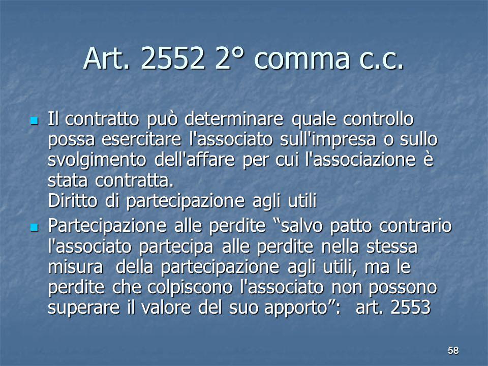 58 Art. 2552 2° comma c.c. Il contratto può determinare quale controllo possa esercitare l'associato sull'impresa o sullo svolgimento dell'affare per