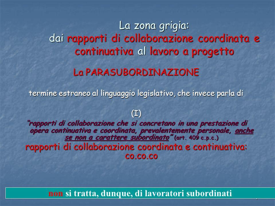 7 La zona grigia: dai rapporti di collaborazione coordinata e continuativa al lavoro a progetto La PARASUBORDINAZIONE termine estraneo al linguaggio l