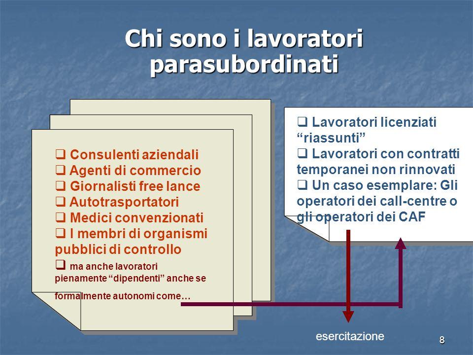 8 Chi sono i lavoratori parasubordinati Consulenti aziendali Agenti di commercio Giornalisti free lance Autotrasportatori Medici convenzionati I membr
