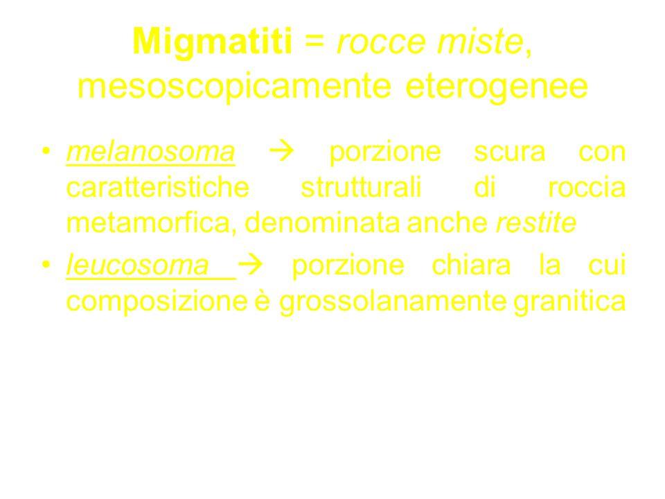 Migmatiti = rocce miste, mesoscopicamente eterogenee melanosoma porzione scura con caratteristiche strutturali di roccia metamorfica, denominata anche restite leucosoma porzione chiara la cui composizione è grossolanamente granitica