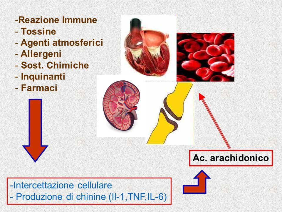 -Reazione Immune - Tossine - Agenti atmosferici - Allergeni - Sost.