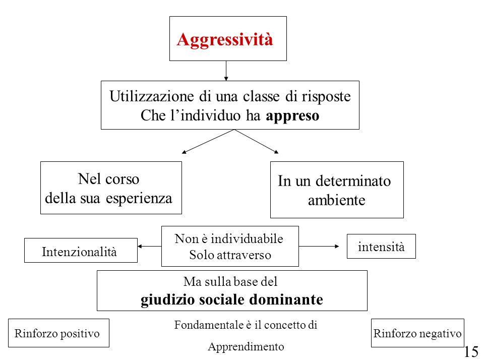 Aggressività Utilizzazione di una classe di risposte Che lindividuo ha appreso Nel corso della sua esperienza In un determinato ambiente Non è individ