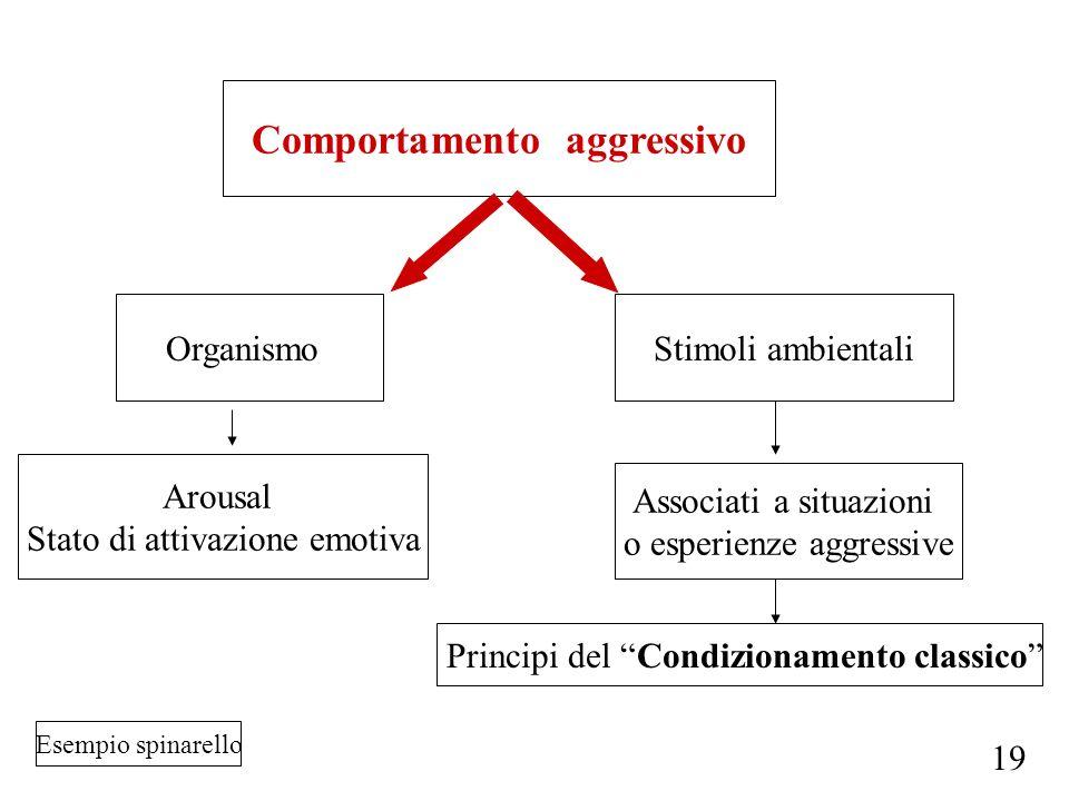 Comportamento aggressivo OrganismoStimoli ambientali Arousal Stato di attivazione emotiva Associati a situazioni o esperienze aggressive Principi del