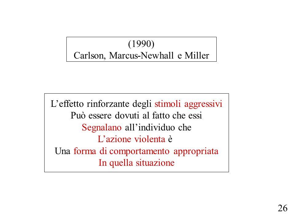 (1990) Carlson, Marcus-Newhall e Miller Leffetto rinforzante degli stimoli aggressivi Può essere dovuti al fatto che essi Segnalano allindividuo che L