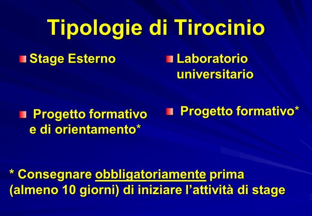 Tipologie di Tirocinio Stage Esterno Progetto formativo e di orientamento* Progetto formativo e di orientamento* Laboratorio universitario Progetto fo