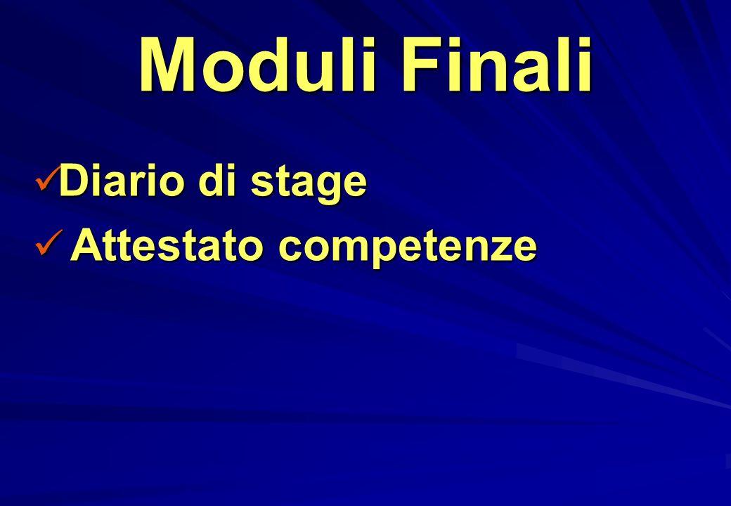 Moduli Finali Diario di stage Diario di stage Attestato competenze Attestato competenze
