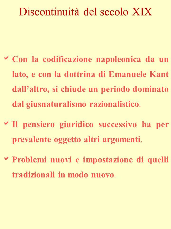 Discontinuità del secolo XIX Con la codificazione napoleonica da un lato, e con la dottrina di Emanuele Kant dallaltro, si chiude un periodo dominato