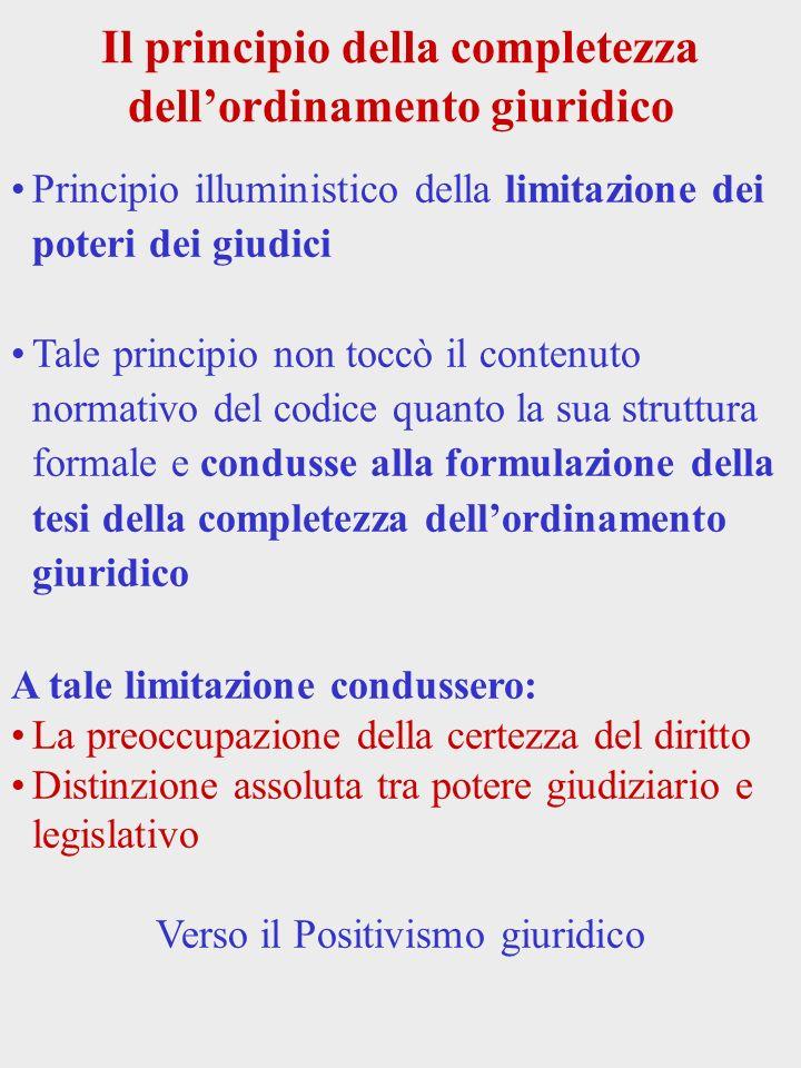 Il principio della completezza dellordinamento giuridico Principio illuministico della limitazione dei poteri dei giudici Tale principio non toccò il