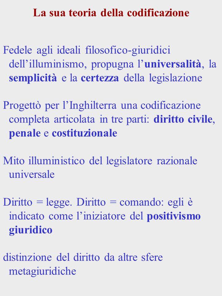 La sua teoria della codificazione Fedele agli ideali filosofico-giuridici dellilluminismo, propugna luniversalità, la semplicità e la certezza della l