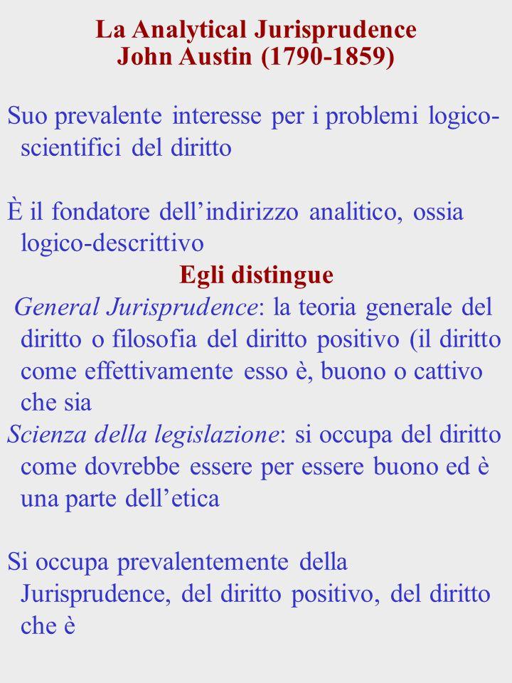 La Analytical Jurisprudence John Austin (1790-1859) Suo prevalente interesse per i problemi logico- scientifici del diritto È il fondatore dellindiriz