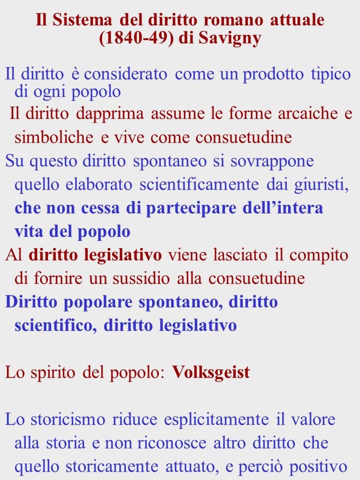 Il Sistema del diritto romano attuale (1840-49) di Savigny Il diritto è considerato come un prodotto tipico di ogni popolo Il diritto dapprima assume