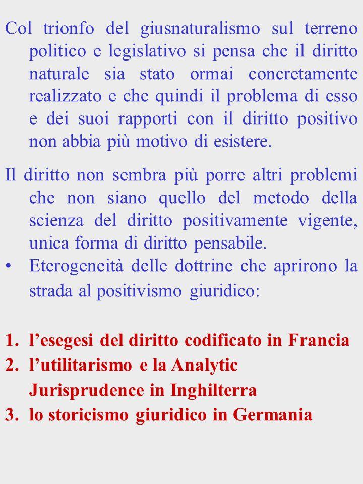 Le codificazioni Conseguenze delle idee giusnaturalistiche: Lesigenza di un diritto razionale universalmente e assolutamente valido.