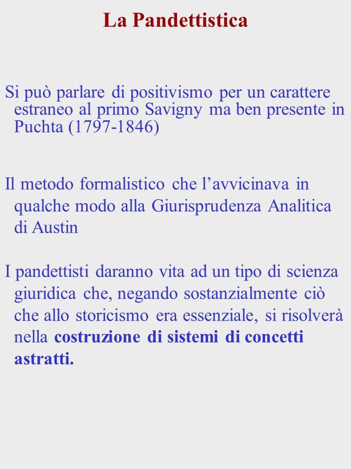 La Pandettistica Si può parlare di positivismo per un carattere estraneo al primo Savigny ma ben presente in Puchta (1797-1846) Il metodo formalistico