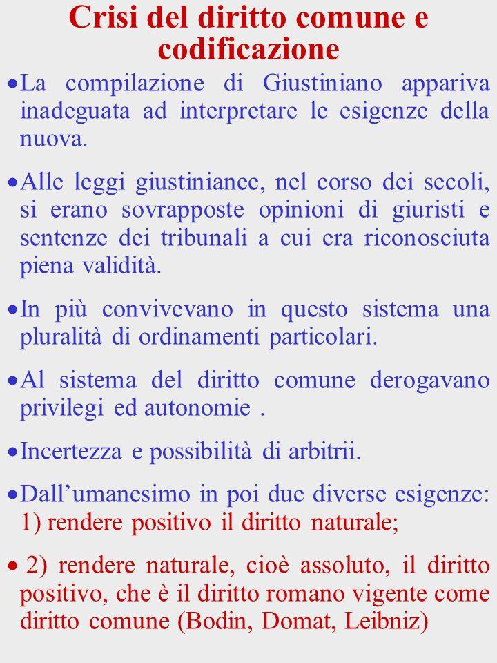 Crisi del diritto comune e codificazione La compilazione di Giustiniano appariva inadeguata ad interpretare le esigenze della nuova. Alle leggi giusti
