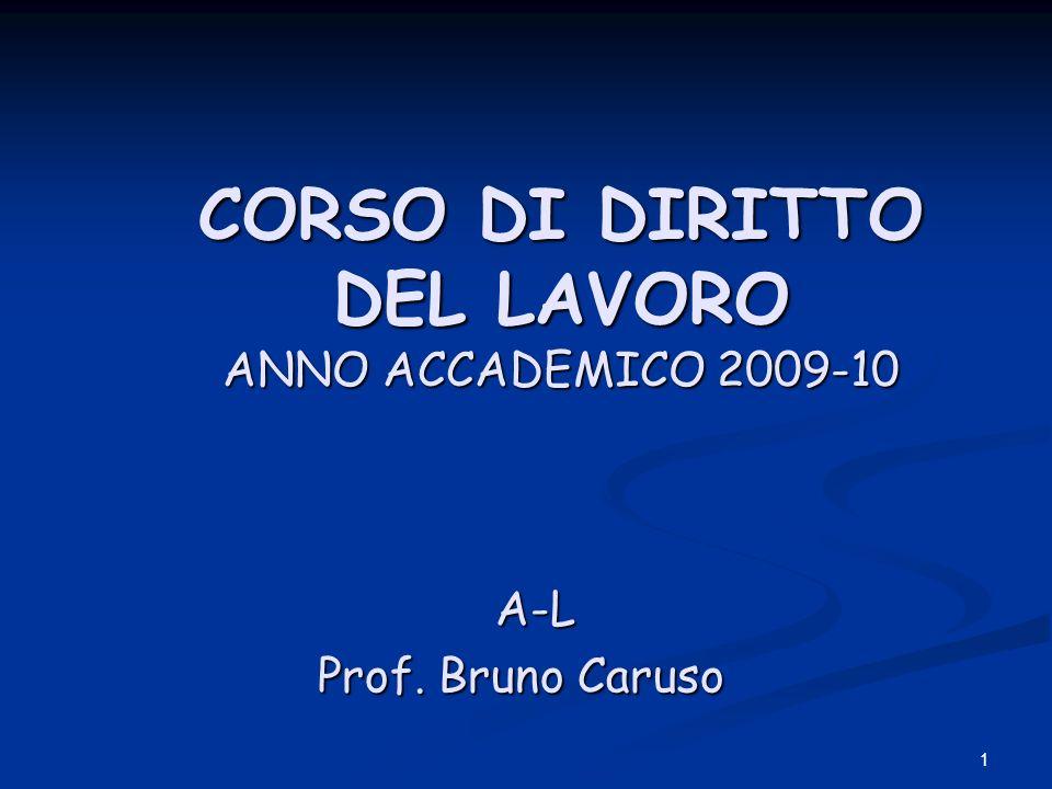 1 CORSO DI DIRITTO DEL LAVORO ANNO ACCADEMICO 2009-10 CORSO DI DIRITTO DEL LAVORO ANNO ACCADEMICO 2009-10 A-L A-L Prof.