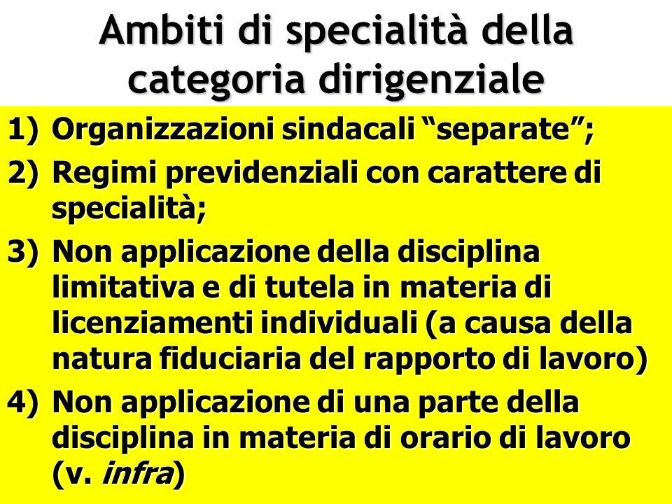 Ambiti di specialità della categoria dirigenziale 1)Organizzazioni sindacali separate; 2)Regimi previdenziali con carattere di specialità; 3)Non appli