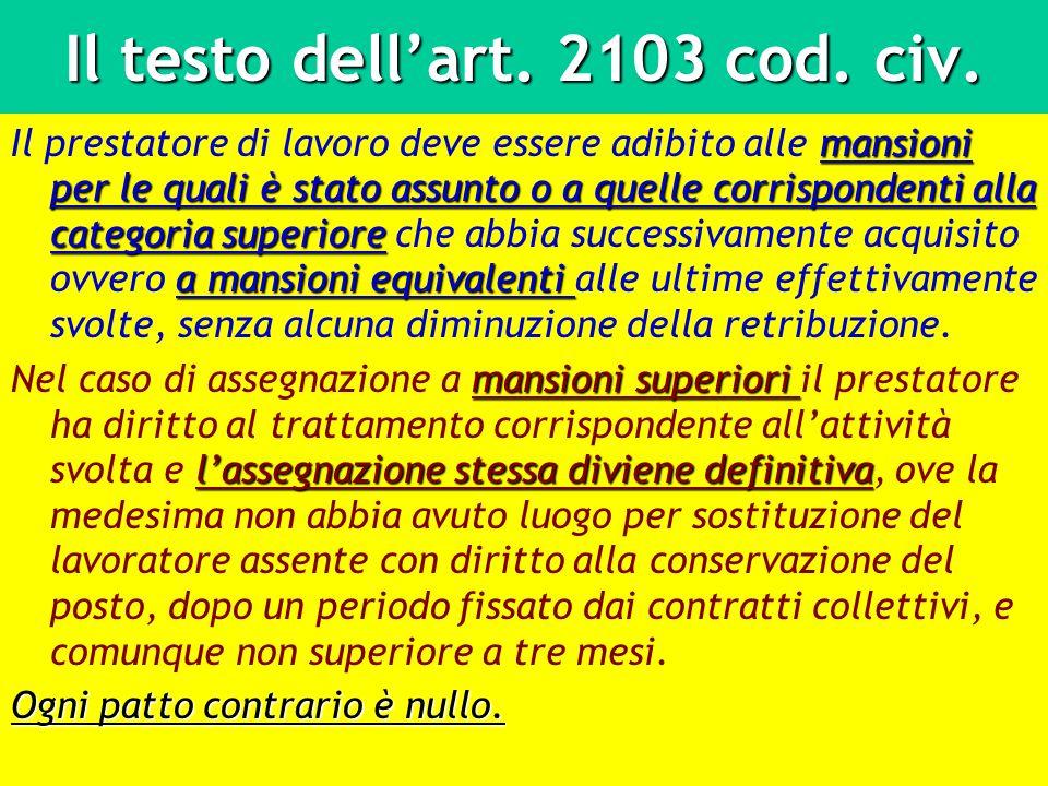 Il testo dellart. 2103 cod. civ. mansioni per le quali è stato assunto o a quelle corrispondenti alla categoria superiore a mansioni equivalenti Il pr