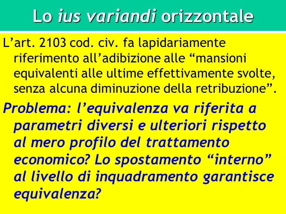 Lo ius variandi orizzontale Lart. 2103 cod. civ. fa lapidariamente riferimento alladibizione alle mansioni equivalenti alle ultime effettivamente svol