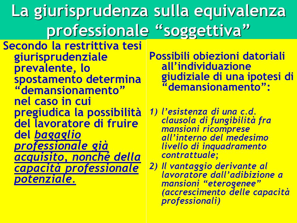 La giurisprudenza sulla equivalenza professionale soggettiva Secondo la restrittiva tesi giurisprudenziale prevalente, lo spostamento determina demans