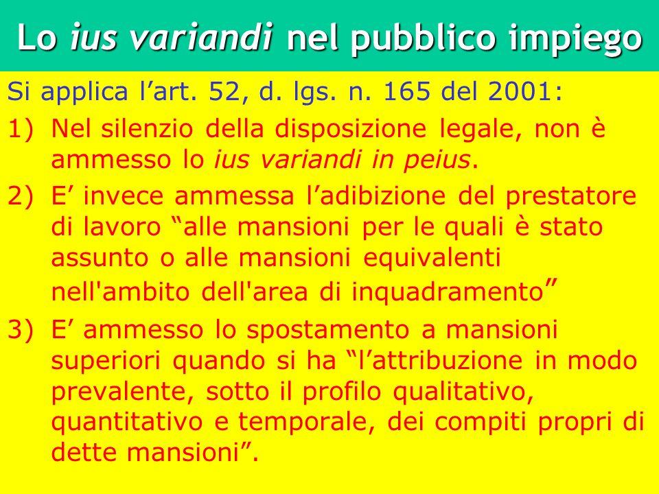 Lo ius variandi nel pubblico impiego Si applica lart. 52, d. lgs. n. 165 del 2001: 1)Nel silenzio della disposizione legale, non è ammesso lo ius vari