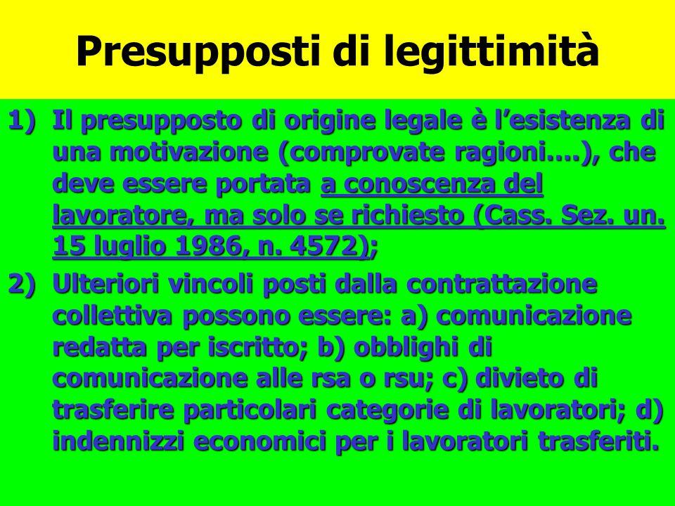 Presupposti di legittimità 1)Il presupposto di origine legale è lesistenza di una motivazione (comprovate ragioni….), che deve essere portata a conosc