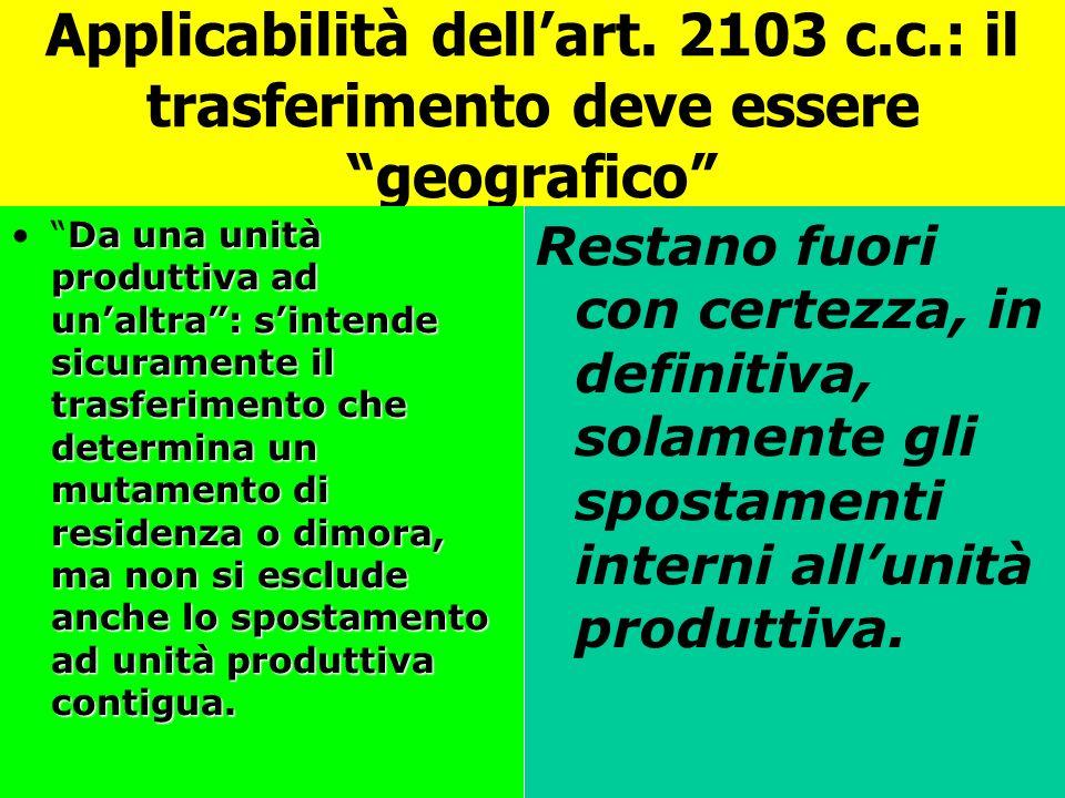 Applicabilità dellart. 2103 c.c.: il trasferimento deve essere geografico Da una unità produttiva ad unaltra: sintende sicuramente il trasferimento ch