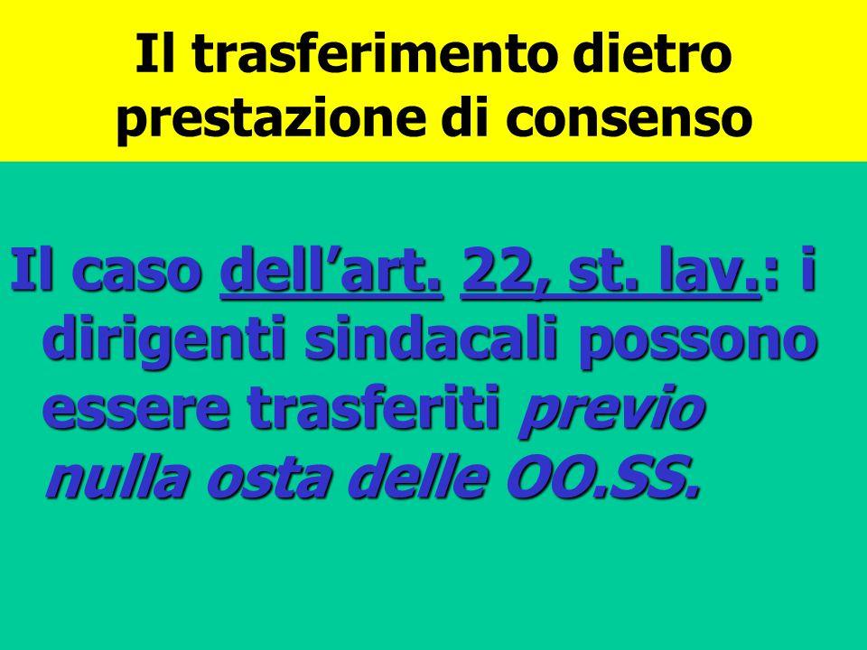 Il trasferimento dietro prestazione di consenso Il caso dellart. 22, st. lav.: i dirigenti sindacali possono essere trasferiti previo nulla osta delle