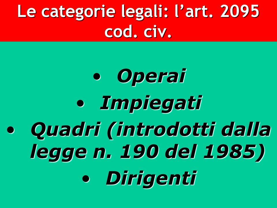 Le categorie legali: lart. 2095 cod. civ. Operai Operai Impiegati Impiegati Quadri (introdotti dalla legge n. 190 del 1985) Quadri (introdotti dalla l
