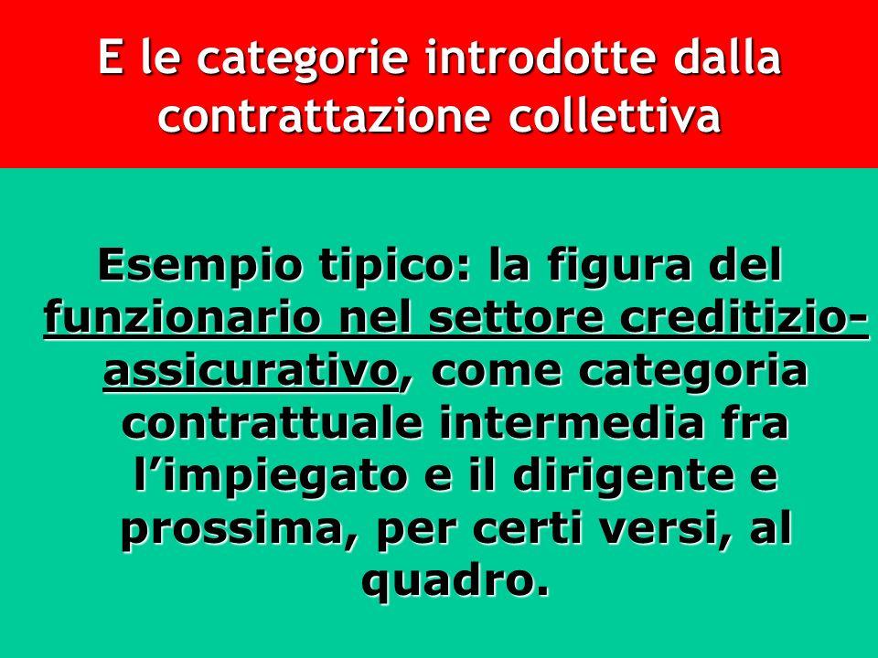 E le categorie introdotte dalla contrattazione collettiva Esempio tipico: la figura del funzionario nel settore creditizio- assicurativo, come categor