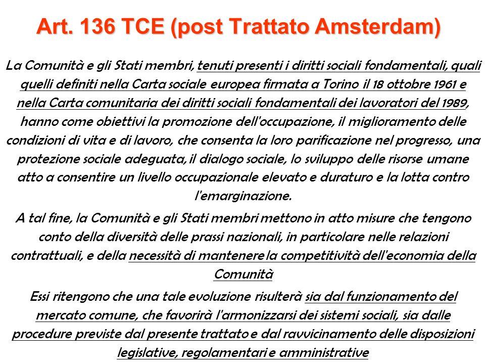 Il trattato di Amsterdam (1997) entrato in vigore nel 1999 1° Incorporazione dellAPS nel TCE (titolo XI, Capo I sulle disposizioni sociali) con conseguente estensione della politica a 14 alla Gran Bretagna 2° introduzione, nel TCE, del titolo VIII sulloccupazione 3° il nuovo art.