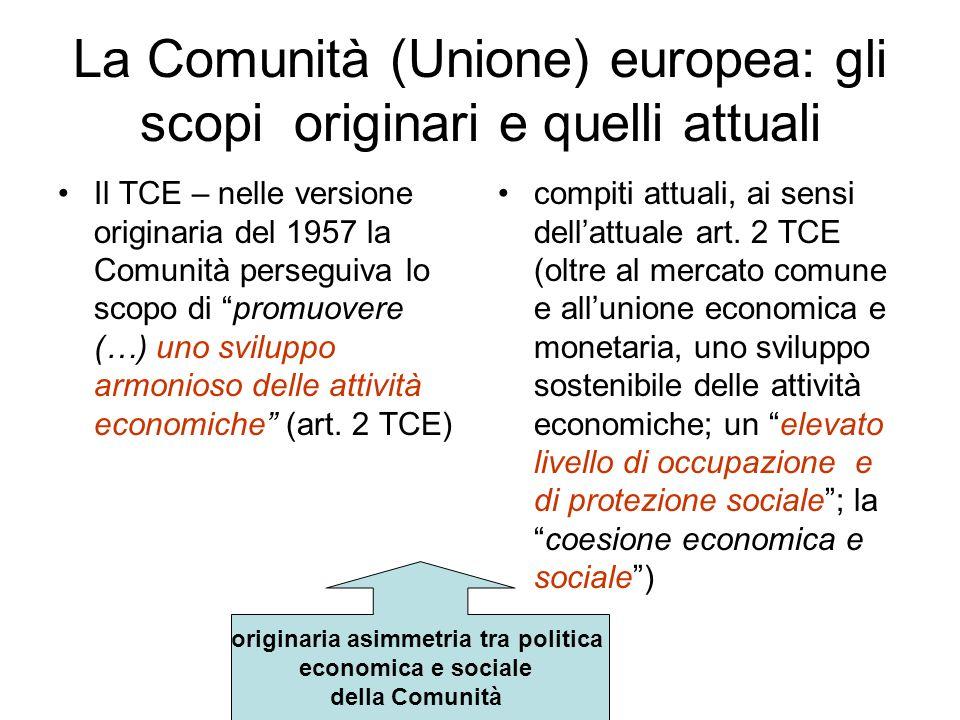 Il Trattato di Roma (1957) La genesi economica del Trattato: mercato comune, espansione economica, incremento spontaneo delloccupazione e del tenore di vita.