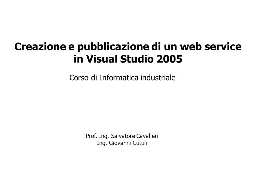 Corso di Informatica industriale Creazione e pubblicazione di un web service in Visual Studio 2005 Prof. Ing. Salvatore Cavalieri Ing. Giovanni Cutuli