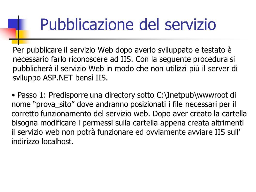 Pubblicazione del servizio Per pubblicare il servizio Web dopo averlo sviluppato e testato è necessario farlo riconoscere ad IIS. Con la seguente proc