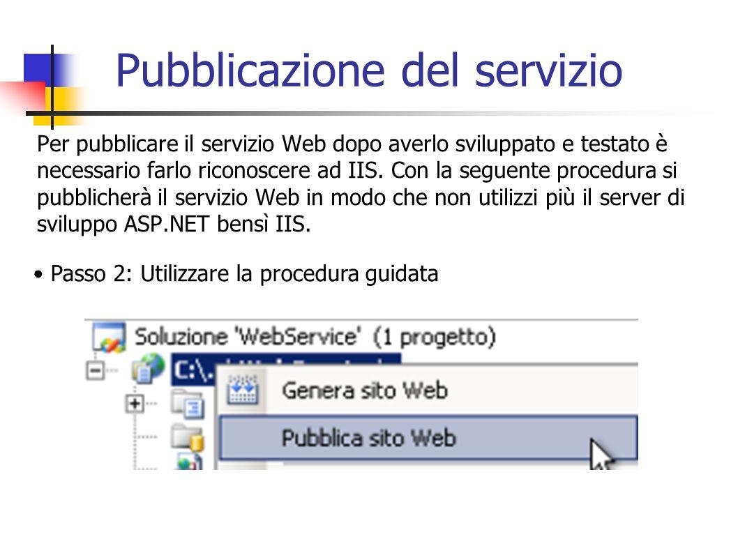 Per pubblicare il servizio Web dopo averlo sviluppato e testato è necessario farlo riconoscere ad IIS. Con la seguente procedura si pubblicherà il ser