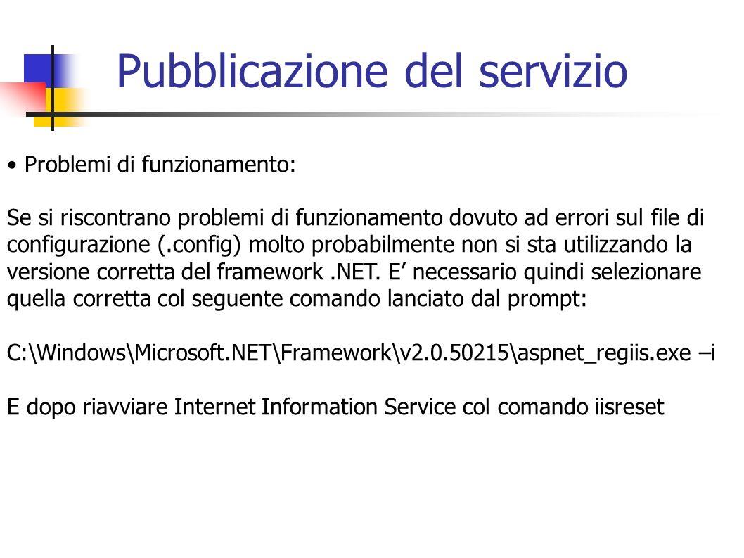 Pubblicazione del servizio Problemi di funzionamento: Se si riscontrano problemi di funzionamento dovuto ad errori sul file di configurazione (.config