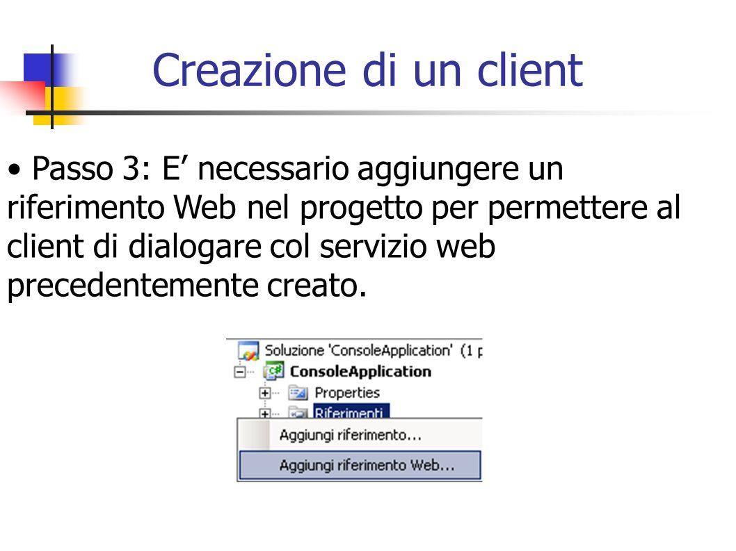 Creazione di un client Passo 3: E necessario aggiungere un riferimento Web nel progetto per permettere al client di dialogare col servizio web precede