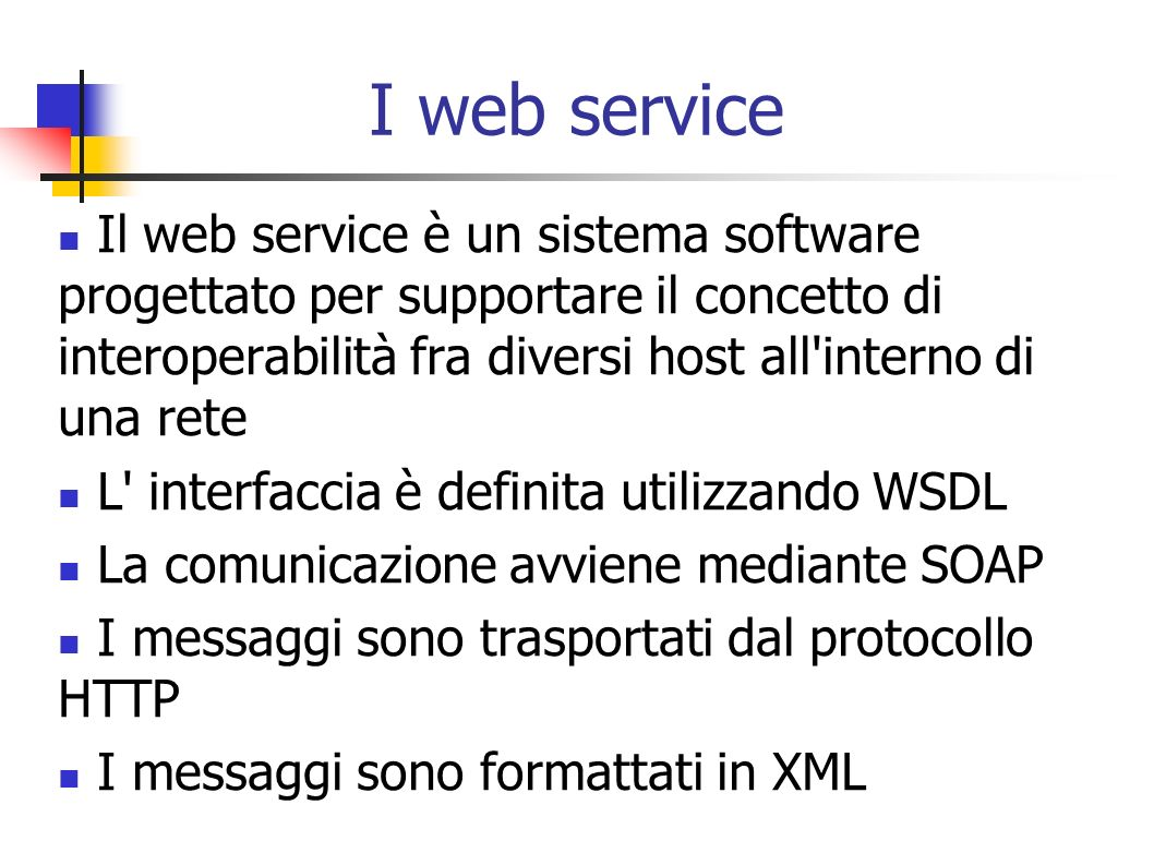 Esempio di scambio dati (Subscribe) Server OPC XML-DAClient OPC XML-DA SubscribeRequestItem[] Items Subscribe (RequestOptions Options, SubscribeRequestItemList ItemList, bool ReturnValuesOnReply, int SubscriptionPingRate, out SubscribeReplyItemList RItemList, out OPCError[] Errors, out string ServerSubHandle) SubscribeResponse (ReplyBase SubscribeResult, SubscribeReplyItemList RItemList, OPCError[] Errors, string ServerSubHandle )