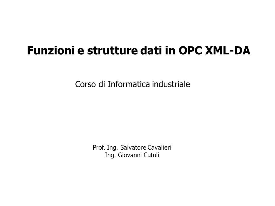 Corso di Informatica industriale Funzioni e strutture dati in OPC XML-DA Prof. Ing. Salvatore Cavalieri Ing. Giovanni Cutuli