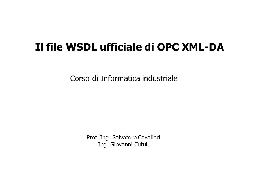 Corso di Informatica industriale Il file WSDL ufficiale di OPC XML-DA Prof. Ing. Salvatore Cavalieri Ing. Giovanni Cutuli