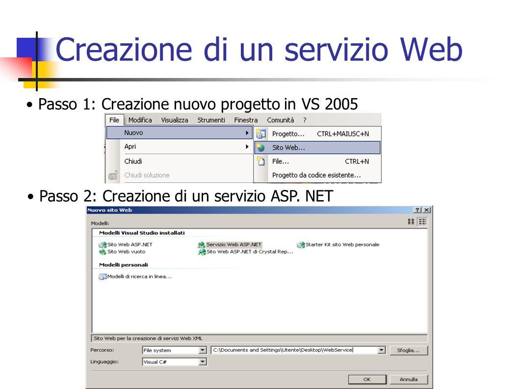 Compilatore WSDL Le opzioni più importanti e che saranno usate in seguito sono: /language: opzione che serve a specificare in che linguaggio creare la classe astratta (default: c#) /namespace: opzione che serve a definire lo spazio dei nomi /out: opzione che serve a definire un nome per il file di output generato alla fine della compilazione (il nome della classe è Service) /server opzione che serve a generare la classe astratta per il server OPC (se lopzione è omessa il tool genera la classe proxy per il client)